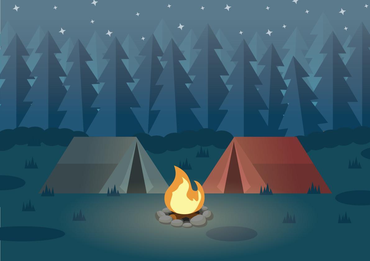 Illustration af Camping