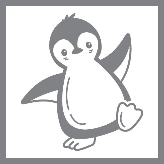 Illustration af en maskot af en pingvin