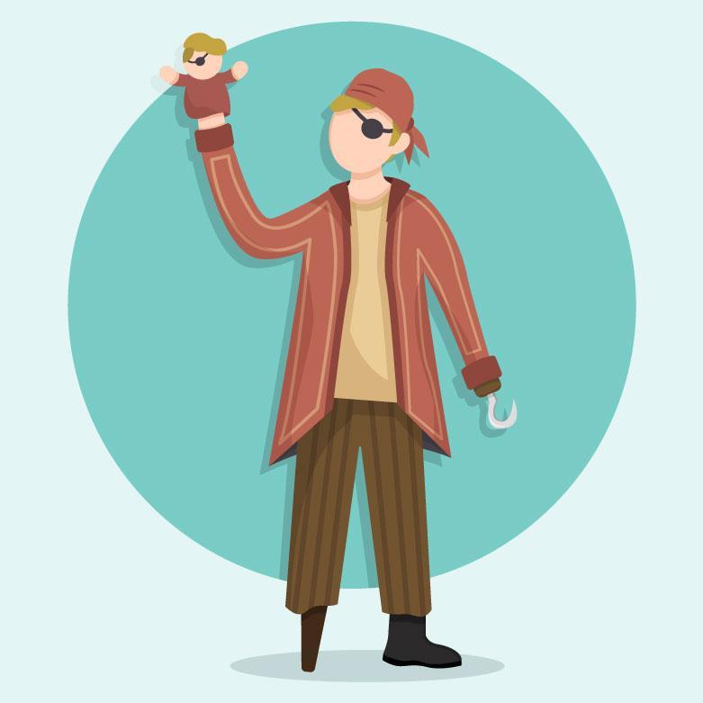 """Illustration af en udklædt pirat med en """"puppet"""" over sin ene hånd"""