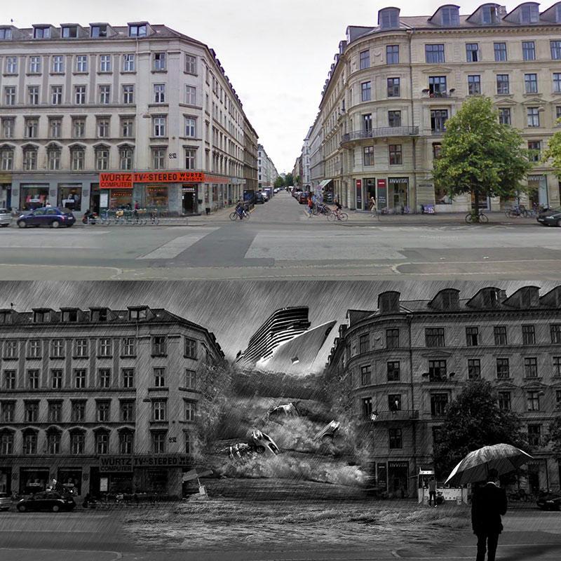 Manipuleret billede af en tsunami