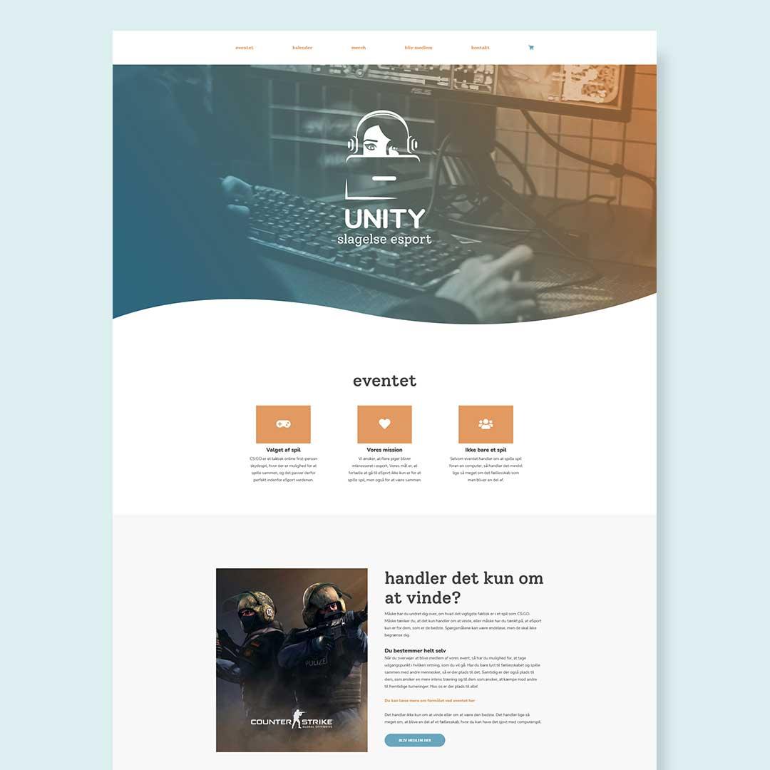 Hjemmesidedesign til opdigtet E-sport virksomhed